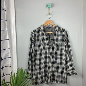 Madewell Black and White Plaid Flannel Popover